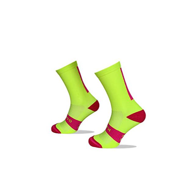 Calcetines para ciclismo amarillo fluor