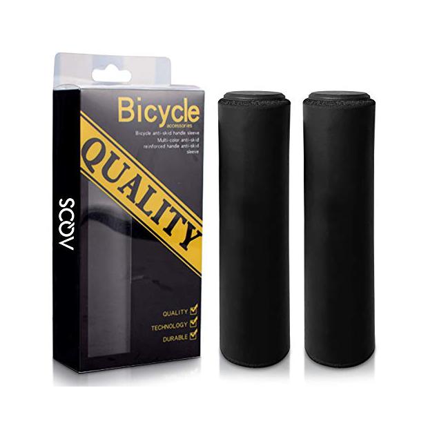 Puños de bicicleta negros de silicona